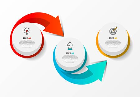 Infographic design template. Creative concept with 3 steps. Can be used for workflow layout, diagram, banner, webdesign. Vector illustration 矢量图像