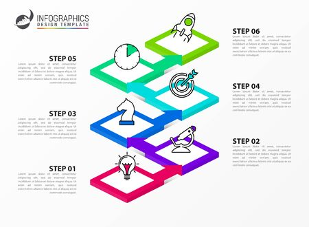 Infographic design template. Creative concept with 6 steps. Can be used for workflow layout, diagram, banner, webdesign. Vector illustration Archivio Fotografico - 150621545