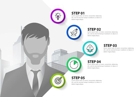 Infographic design template. Creative concept with 5 steps. Can be used for workflow layout, diagram, banner, webdesign. Vector illustration Ilustrace