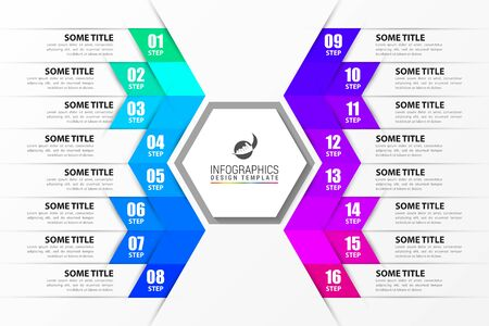 Infographic design template. Creative concept with 16 steps. Can be used for workflow layout, diagram, banner, webdesign. Vector illustration