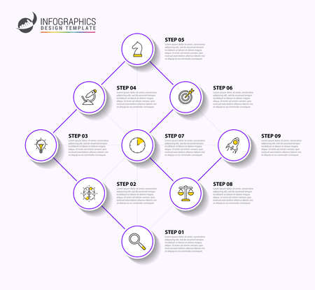 Infographic design template. Timeline concept with 9 steps. Can be used for workflow layout, diagram, banner, webdesign. Vector illustration Ilustracja