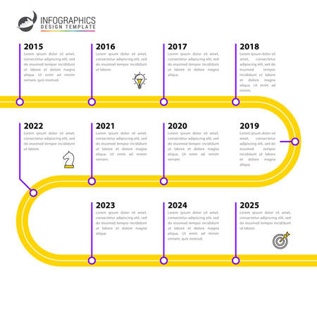 Infographic design template. Timeline concept with 11 steps. Can be used for workflow layout, diagram, banner, webdesign. Vector illustration