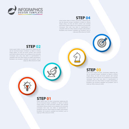 Infographic design template. Timeline concept with 4 steps. Can be used for workflow layout, diagram, banner, webdesign. Vector illustration Ilustracja