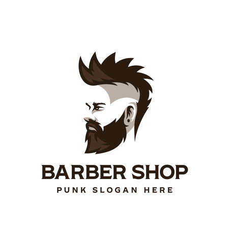 Barber shop symbol. Man with a beard from the side view. Punk. Vector illustration Ilustracja