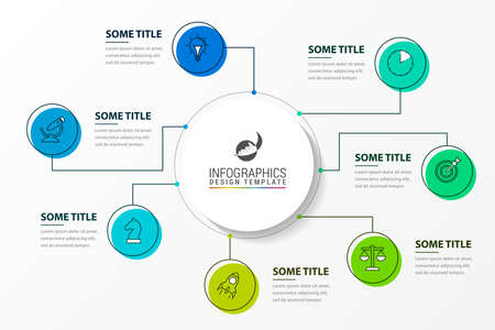 Infographic design template. Creative concept with 7 steps. Can be used for workflow layout, diagram, banner, webdesign. Vector illustration Vetores