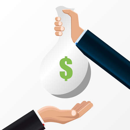 Human hand gives money bag to another person. Vector illustration Ilustracja
