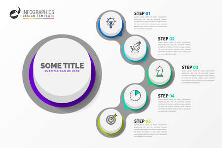 Infographic design template. Creative concept with 5 steps. Can be used for workflow layout, diagram, banner, webdesign. Vector illustration Vectores