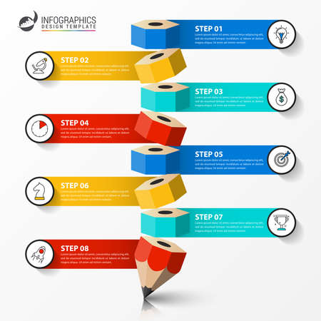 Infographic design template. Creative concept with 8 steps. Can be used for workflow layout, diagram, banner, webdesign. Vector illustration Vektoros illusztráció