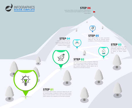 Infographic design template. Creative concept with 6 steps. Can be used for workflow layout, diagram, banner, webdesign. Vector illustration Vettoriali