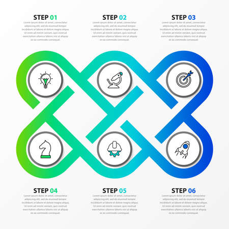 Infographic design template. Creative concept with 6 steps. Can be used for workflow layout, diagram, banner, webdesign. Vector illustration Archivio Fotografico - 155512068