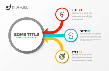 Infographic design template. Creative concept with 3 steps. Can be used for workflow layout, diagram, banner, webdesign. Vector illustration Archivio Fotografico - 156376761