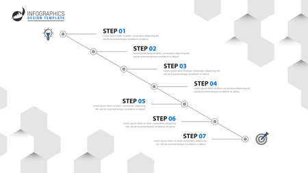 Infographic design template. Timeline concept with 7 steps. Can be used for workflow layout, diagram, banner, webdesign. Vector illustration 矢量图像