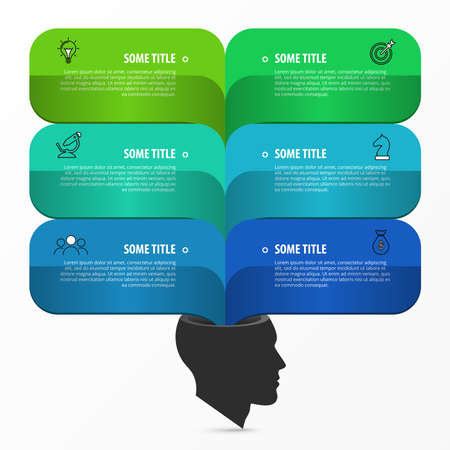 Infographic design template. Creative concept with 6 steps. Can be used for workflow layout, diagram, banner, webdesign. Vector illustration Archivio Fotografico - 156777296