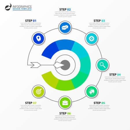 Infographic design template. Creative concept with 7 steps. Can be used for workflow layout, diagram, banner, webdesign. Vector illustration Zdjęcie Seryjne - 156560715