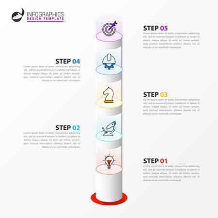 Infographic design template. Creative concept with 5 steps. Can be used for workflow layout, diagram, banner, webdesign. Vector illustration Zdjęcie Seryjne - 156892533