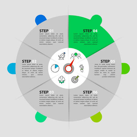 Infographic design template. Creative concept with 6 steps. Can be used for workflow layout, diagram, banner, webdesign. Vector illustration Archivio Fotografico - 156892590