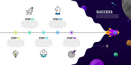 Infographic design template. Timeline concept with 5 steps. Can be used for workflow layout, diagram, banner, webdesign. Vector illustration Zdjęcie Seryjne - 157040069