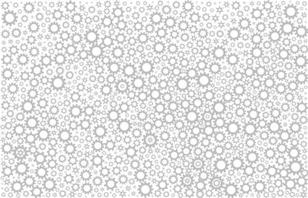Mechanism concept. Grey gears on white background. Pattern. Vector illustration