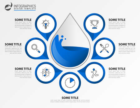 Infographic design template. Creative concept with 7 steps. Can be used for workflow layout, diagram, banner, webdesign. Vector illustration Archivio Fotografico - 157136389