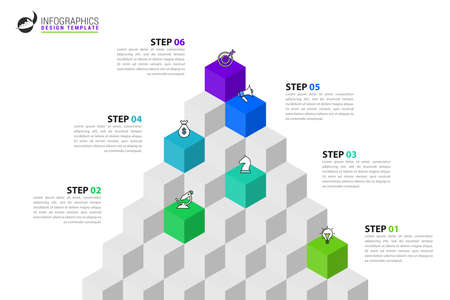 Infographic design template. Creative concept with 6 steps. Can be used for workflow layout, diagram, banner, webdesign. Vector illustration Vektorgrafik