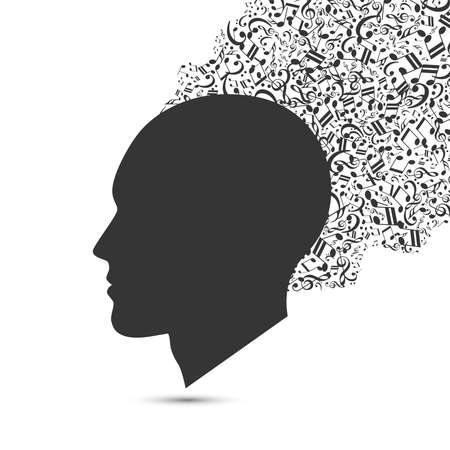 Head with flying notes. Music concept. Vector illustration Zdjęcie Seryjne - 157660299