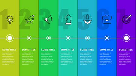 Infographic design template. Timeline concept with 7 steps. Can be used for workflow layout, diagram, banner, webdesign. Vector illustration Archivio Fotografico - 157529910