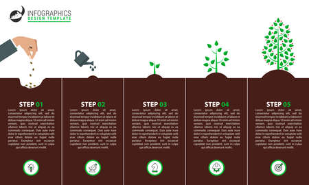 Infographic design template. Creative concept with 5 steps. Can be used for workflow layout, diagram, banner, webdesign. Vector illustration Zdjęcie Seryjne - 157687747