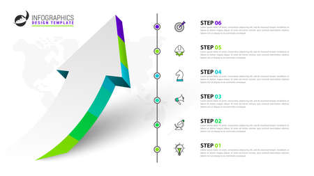Infographic design template. Creative concept with 6 steps. Can be used for workflow layout, diagram, banner, webdesign. Vector illustration Zdjęcie Seryjne - 158054927