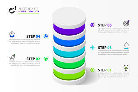 Infographic design template. Creative concept with 5 steps. Can be used for workflow layout, diagram, banner, webdesign. Vector illustration Zdjęcie Seryjne - 158344862