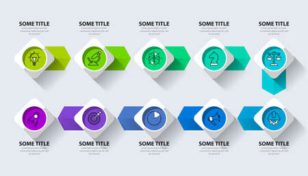 Infographic design template. Creative concept with 10 steps. Can be used for workflow layout, diagram, banner, webdesign. Vector illustration Zdjęcie Seryjne - 158344869