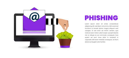 Internet phishing and hacking concept. Cyber attack. Vector illustration Ilustracja