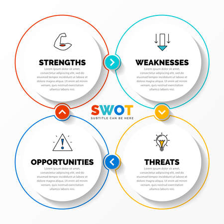 Infographic design template. SWOT concept with 4 steps. Can be used for workflow layout, diagram, banner, webdesign. Vector illustration
