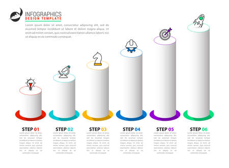 Infographic design template. Creative concept with 6 steps. Can be used for workflow layout, diagram, banner, webdesign. Vector illustration Zdjęcie Seryjne - 158707118