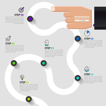 Infographic design template. Creative concept with 6 steps. Can be used for workflow layout, diagram, banner, webdesign. Vector illustration Zdjęcie Seryjne - 158707895