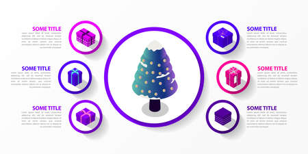 Infographic design template. Christmas concept with 6 steps. Can be used for workflow layout, diagram, banner, webdesign. Vector illustration