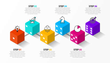 Infographic design template. Creative concept with 6 steps. Can be used for workflow layout, diagram, banner, webdesign. Vector illustration Zdjęcie Seryjne - 158848312