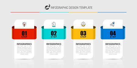 Infographic design template. Creative concept with 4 steps. Can be used for workflow layout, diagram, banner, web design. Vector illustration Zdjęcie Seryjne - 159196490