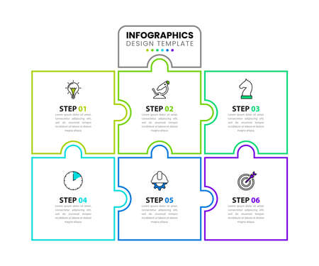 Infographic design template. Creative concept with 6 steps. Can be used for workflow layout, diagram, banner, web design. Vector illustration Zdjęcie Seryjne - 159260074