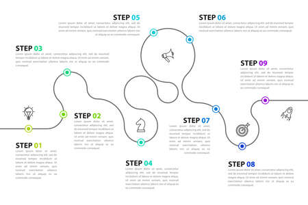 Infographic design template. Creative concept with 9 steps. Can be used for workflow layout, diagram, banner, web design. Vector illustration Zdjęcie Seryjne - 159259605