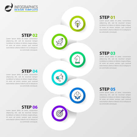 Infographic design template. Creative concept with 6 steps. Can be used for workflow layout, diagram, banner, web design. Vector illustration Ilustracja