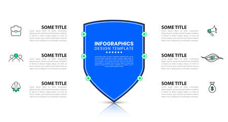 Infographic design template with security shield. Creative concept with 6 steps. Can be used for workflow layout, diagram, banner, web design. Vector illustration