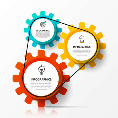 Infographic design template. Creative concept with 3 steps. Can be used for workflow layout, diagram, banner, web design. Vector illustration