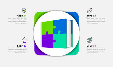 Infographic design template. Creative concept with 4 steps. Can be used for workflow layout, diagram, banner, web design. Vector illustration Zdjęcie Seryjne - 159677200