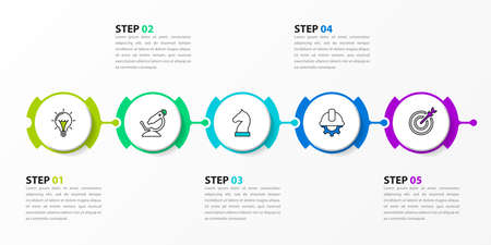 Infographic design template. Timeline concept with 5 steps. Can be used for workflow layout, diagram, banner, web design. Vector illustration