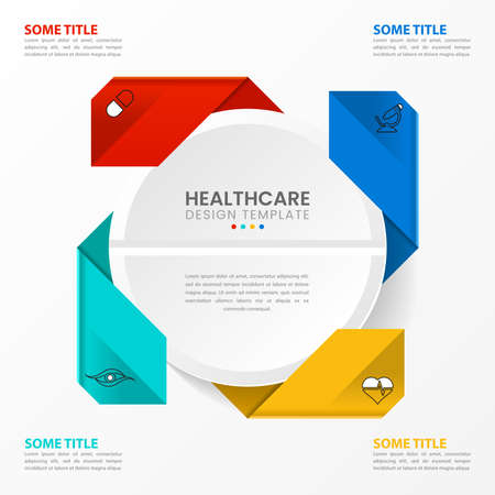 Infographic design template. Healthcare concept with 4 steps. Can be used for workflow layout, diagram, banner, web design. Vector illustration