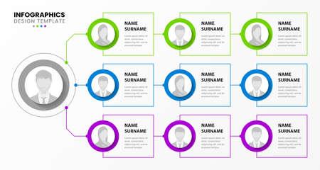 Infographic design template. Organization chart. Business hierarchy. Vector illustration Ilustracje wektorowe