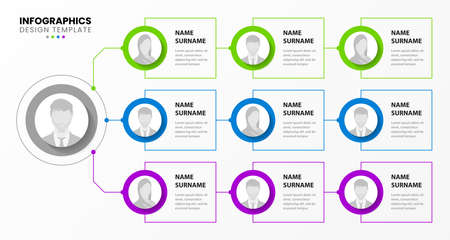 Infographic design template. Organization chart. Business hierarchy. Vector illustration Vektorové ilustrace