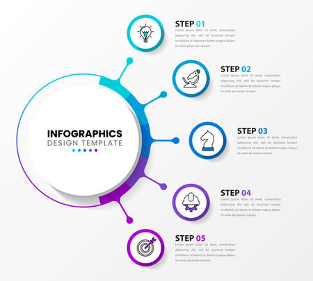 Infographic design template. Creative concept with 5 steps. Can be used for workflow layout, diagram, banner, web design. Vector illustration