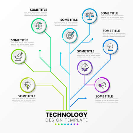 Infographic design template. Technology concept with 8 steps. Can be used for workflow layout, diagram, banner, web design. Vector illustration Ilustracja