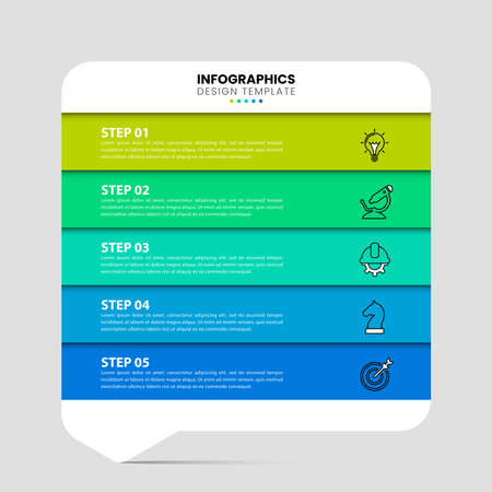 Infographic design template. Creative concept with 5 steps. Can be used for workflow layout, diagram, banner, webdesign. Vector illustration Ilustracja